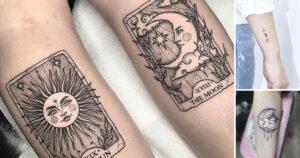 35 hermosos Diseños del tatuaje del sol y de la luna