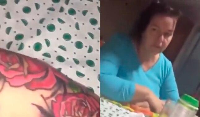 Chico presume nuevo tatuaje a su mamá y ella tiene increíble reacción al verlo [VIDEO]