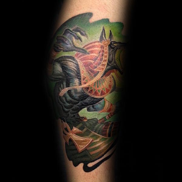 Amazing Anubis Watercolor Mens Leg Calf Tattoo Ideas