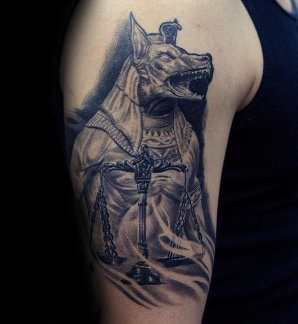 Anubis Upper Arm Male Tattoos
