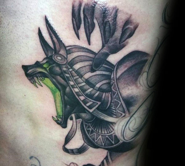 Anubis With Glowing Green Mouth Mens Ribcage Tattoos
