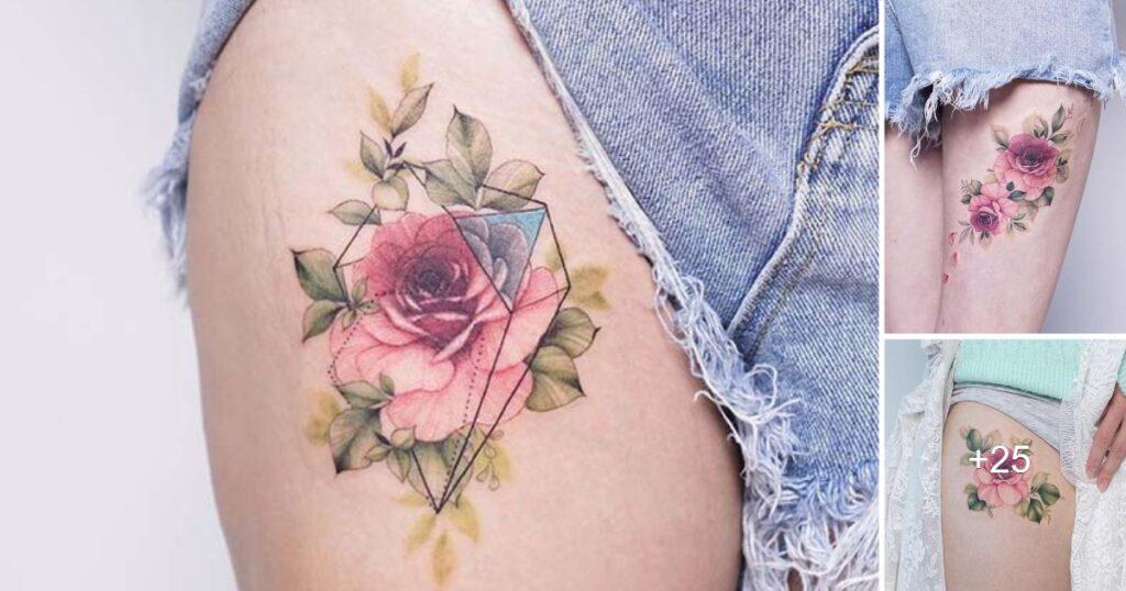 Las 23 mejores ideas de tatuajes de rosas en el muslo para mujeres